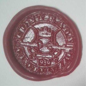 sigillo ceralacca rossa con stemma araldico
