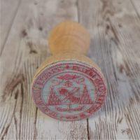 timbro rotondo con manico, in legno